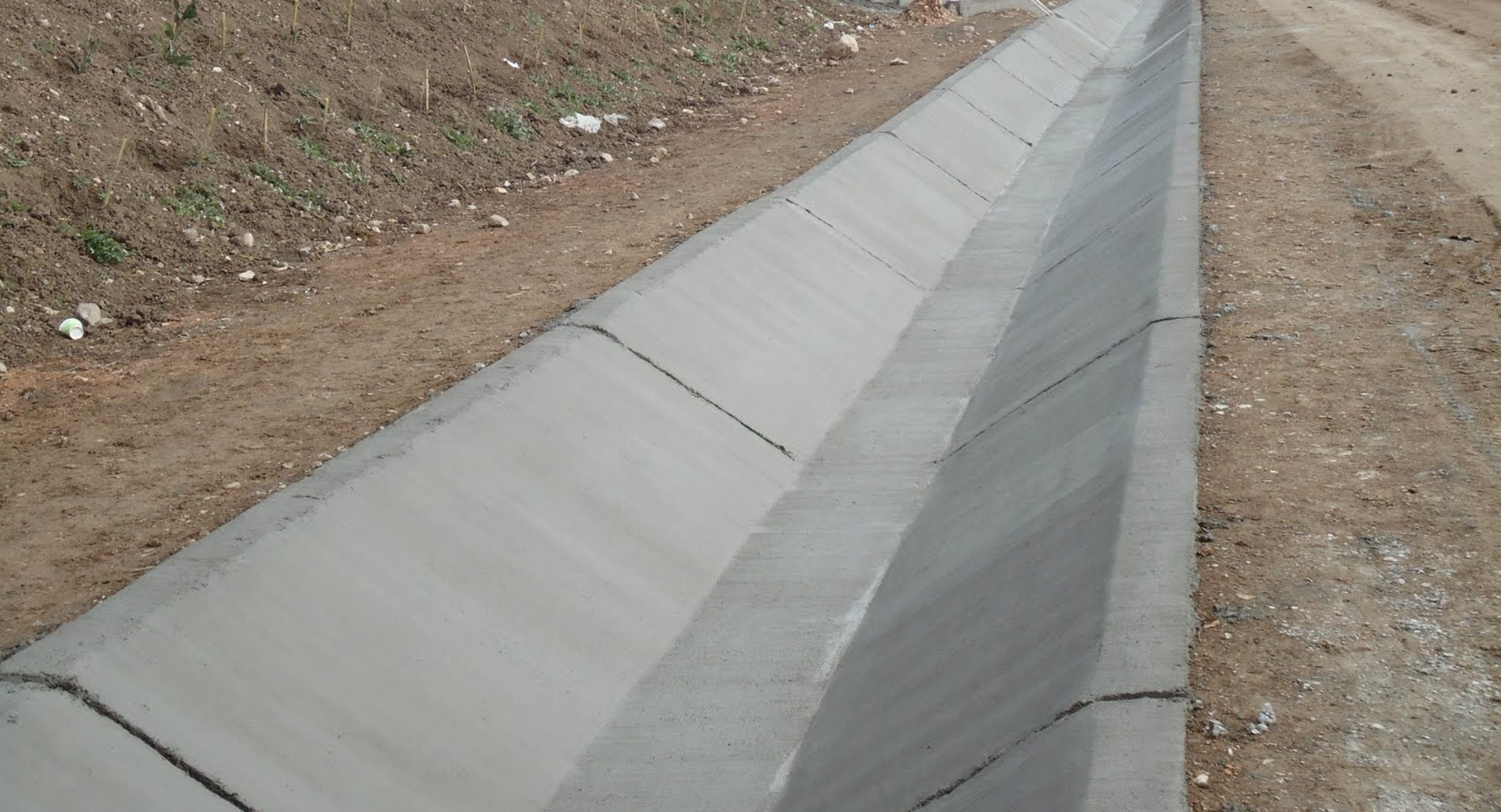 V ditch concrete installation in Southern California