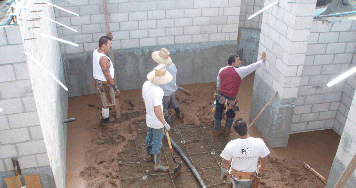 Concrete foundation install for custom homes.